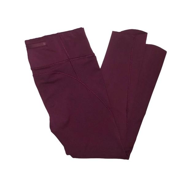 ATHLETA Velocity 7/8 Burgundy Stash Pocket Legging